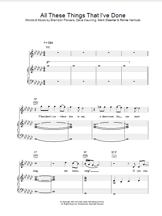 All These Things That Ive Done Sheet Music Noteflight Marketplace